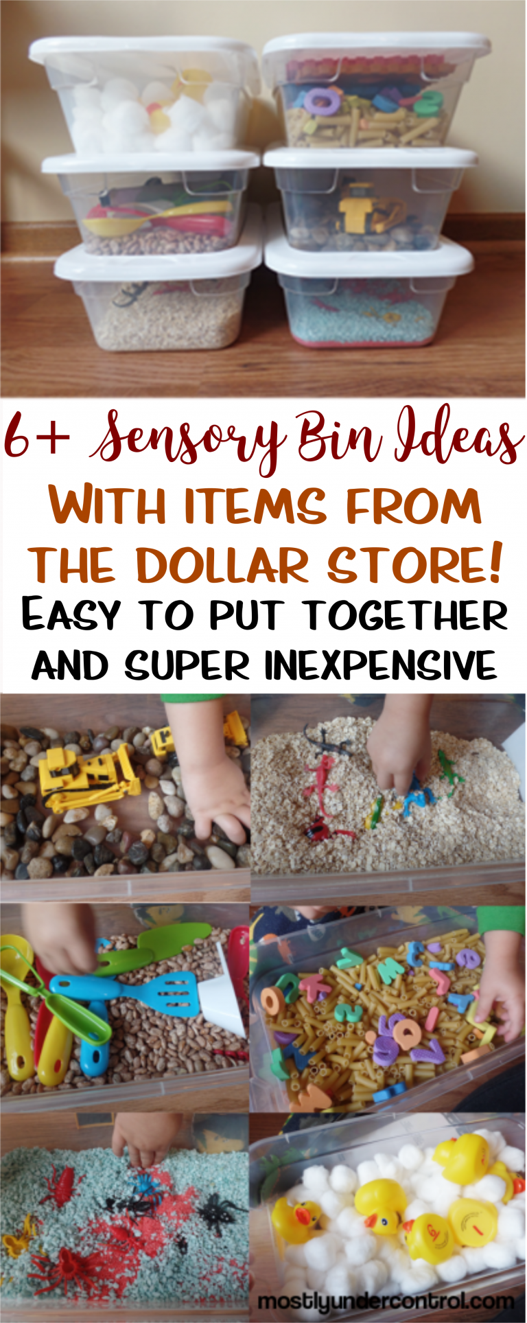 6+ Sensory Bins for under $30 - with tons of other ideas