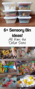 Sensory bin ideas from the Dollar store
