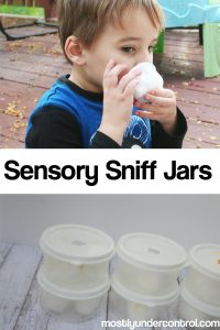 Sensory Smelling jars are a great way to incorporate the sense of smell into play. Oftentimes when we do sensory activities, we forget about the sense of smell! These smelling jars are so easy to put together and can be brought anywhere.