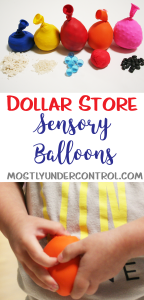 dollar store sensory balloons with close up of child's hand