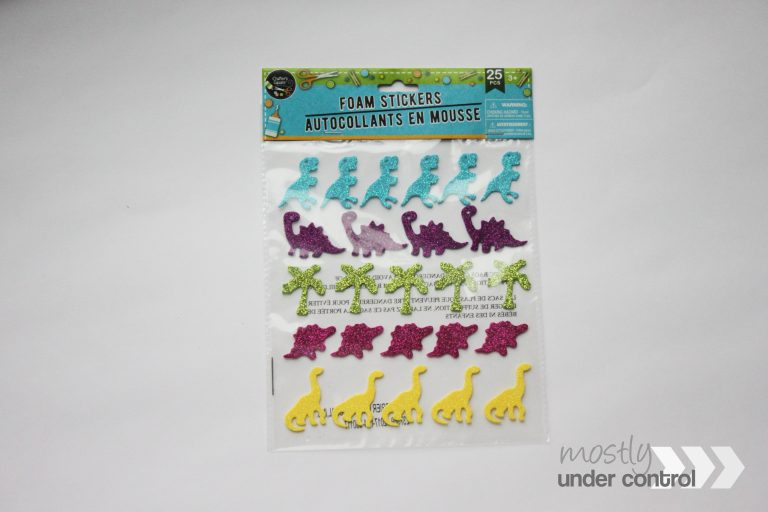 glitter dinosaur stickers for toddler sorting activity