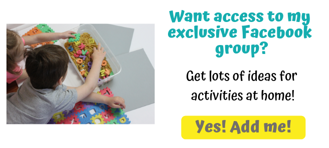 Two children playing with a sensory bin with dry pasta and foam letters - a sign up button for an exclusive facebook group with ideas for at home activities