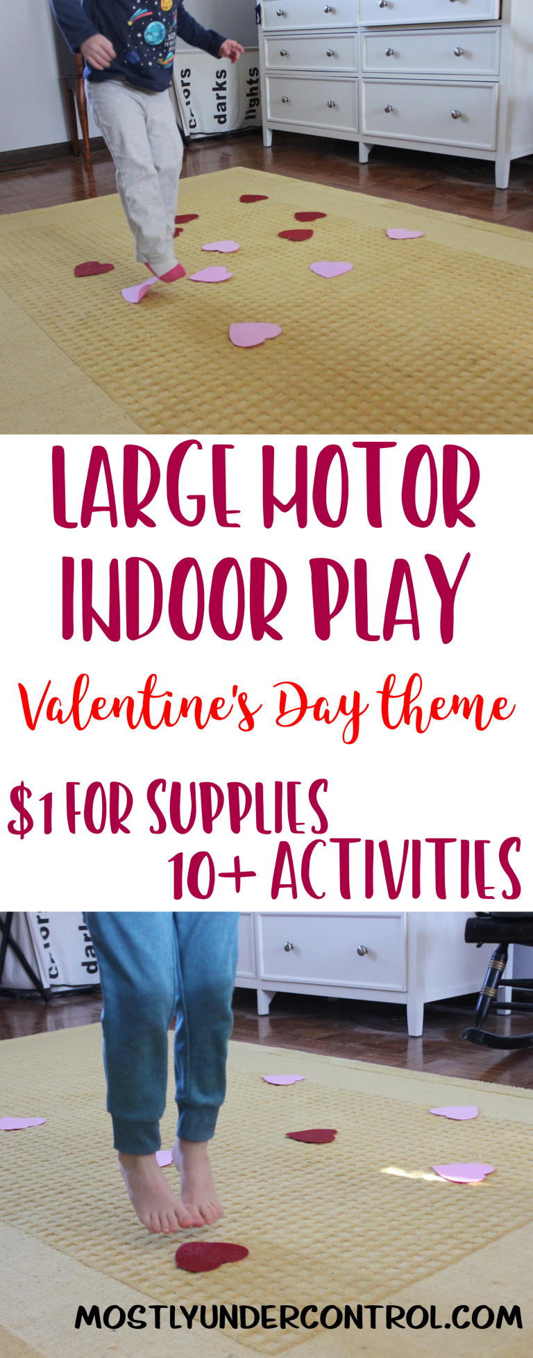 Large motor indoor play Valentine's Day theme. $1 for supplies and 10+ activities! Photo of child in blue pants jumping on glittery red hearts on a yellow rug.