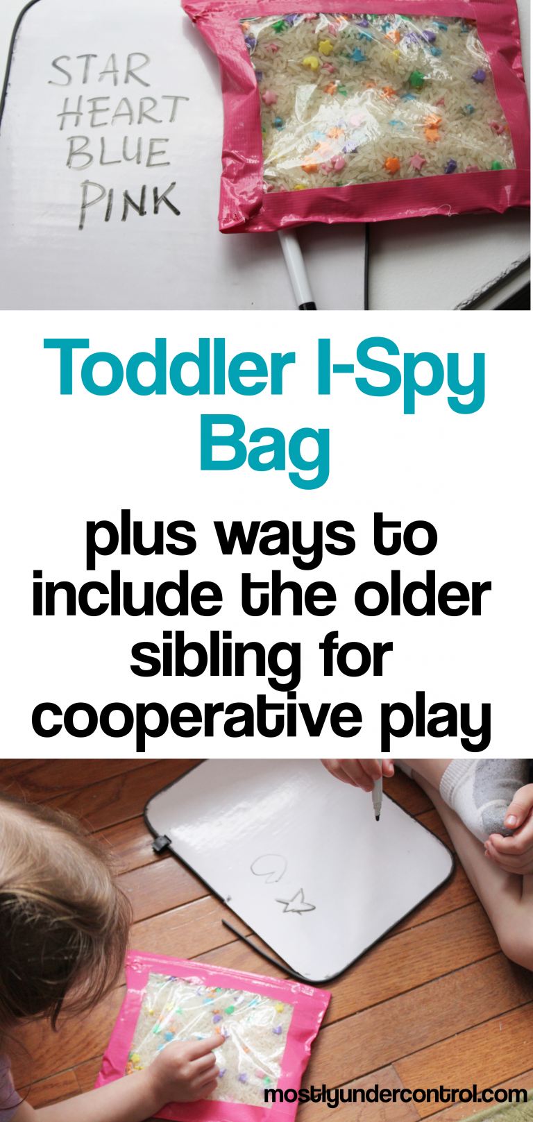 toddler i-spy bag plus ways to include the older sibling for some cooperative play