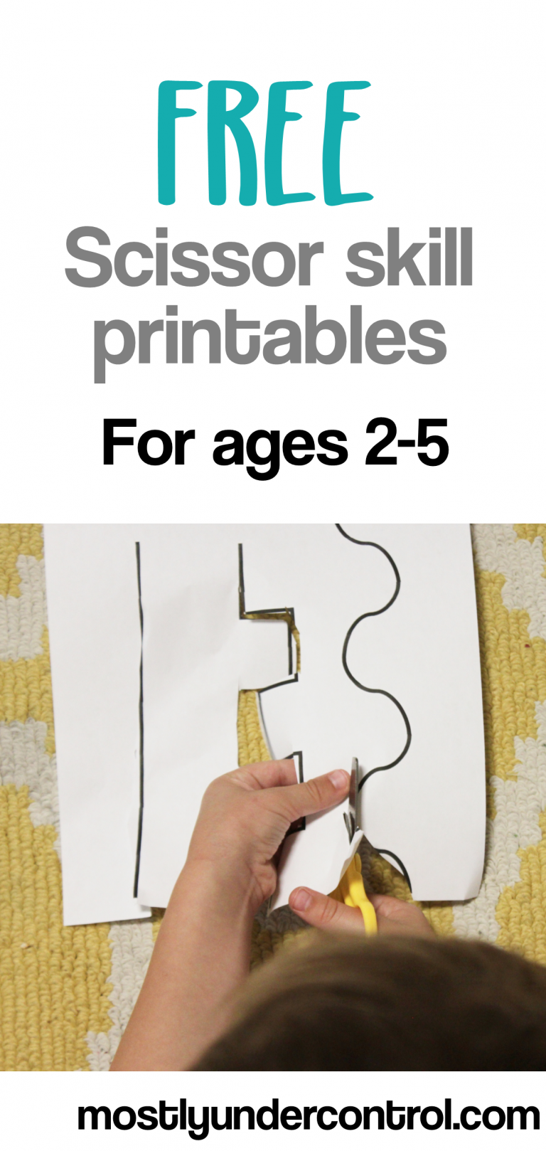 Free scissor skill printable! Did you know how many things you're working on when you're working on scissor skills at home? It helps kids strengthen their fine motor skills, hand eye coordination - so much more! Check out this post for a free scissor skill printable for kids ages 2-5.