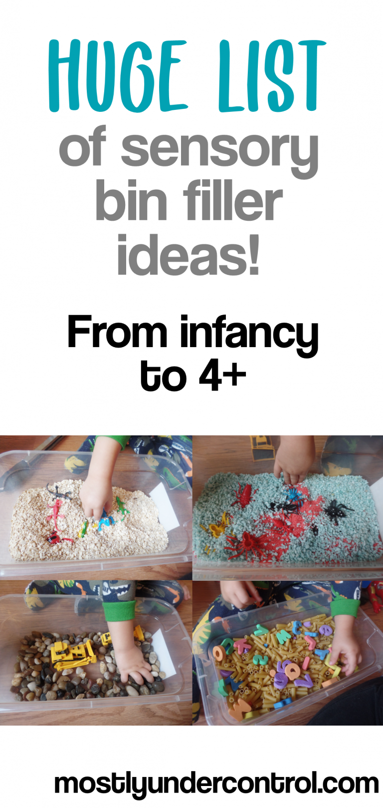Huge list of sensory bin filler ideas