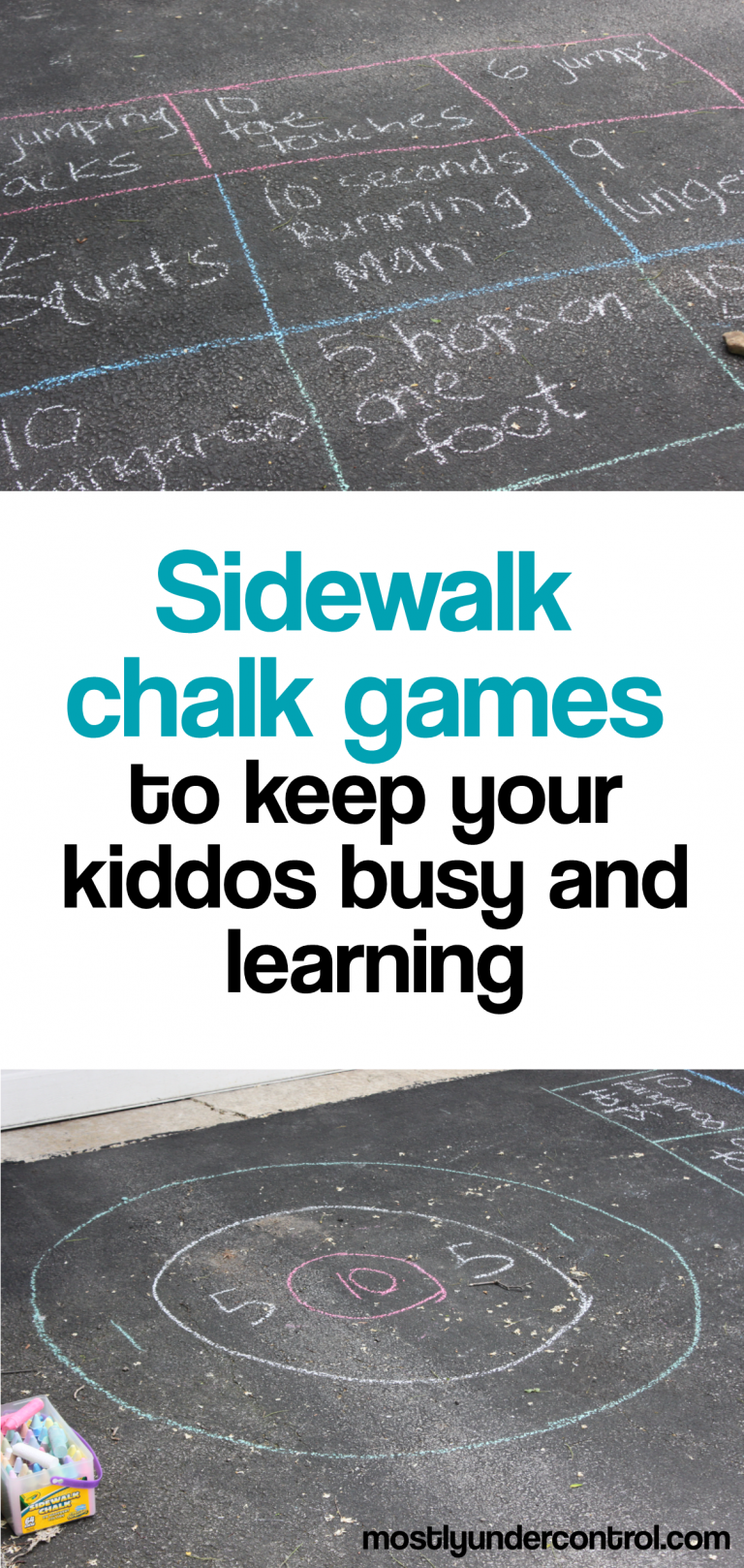 Sidewalk chalk games to keep your kiddos busy and learning