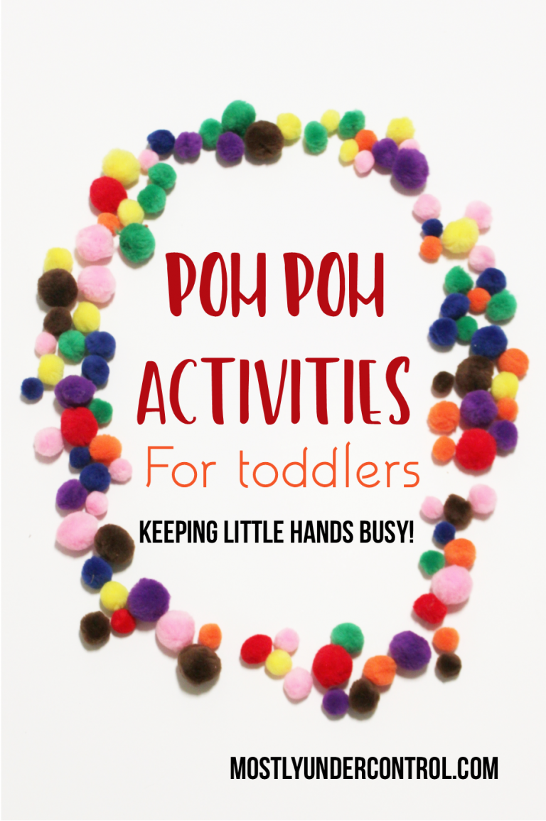 pom pom activities for toddlers. Ways to keep their little hands busy! Toddlers can be movers and shakers, but often times fine motor skills will slow them down and tire them out. A lot of people don't know this! Check out this post on 10 different pom pom activities for toddlers.