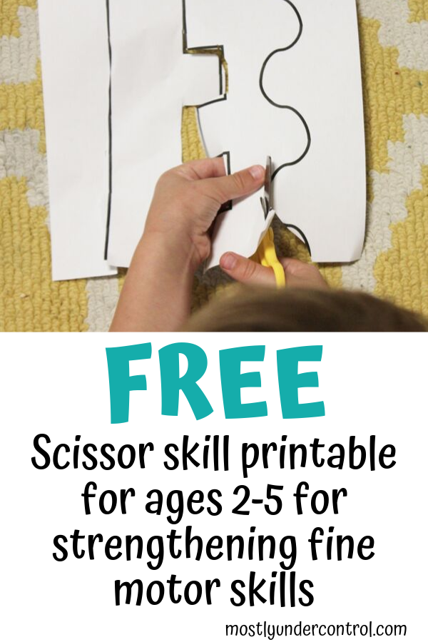Free scissor skill printable for ages 2-5 for strengthening fine motor skills.
