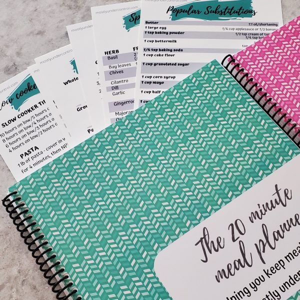 meal planner notebook, recipe book, kitchen cheat sheet cards