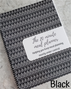 black chevron meal planner cover