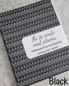black chevron meal planner cover