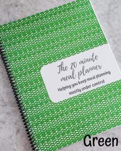 green chevron meal planner notebook