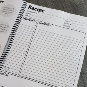 page of recipe book