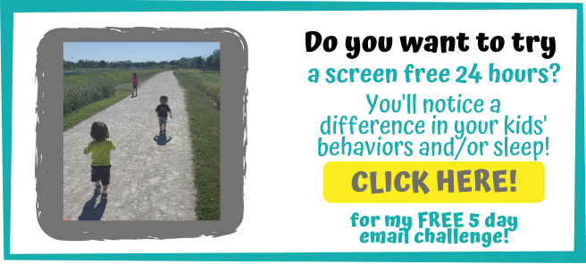 children running on path - do you want to try a screen free 24 hours? You'll notice a difference in your kids' behaviors and/or sleep! Click here for my free 5 day email challenge.