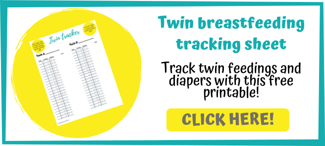 Twin breastfeeding tracking sheet. Track twin feedings and diapers with this free printable!