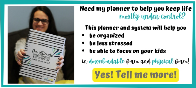 "Text: Need my planner to help you keep life mostly under control? This planner and system will help you be organized, be less stressed, be able to focus on your kids. In downloadable and physical form. Click below to check out the listing! On left side, photo of woman with dark hair holding a copy of the planner out in front of her face that reads ""The ultimate planner for moms who want to keep life mostly under control"""