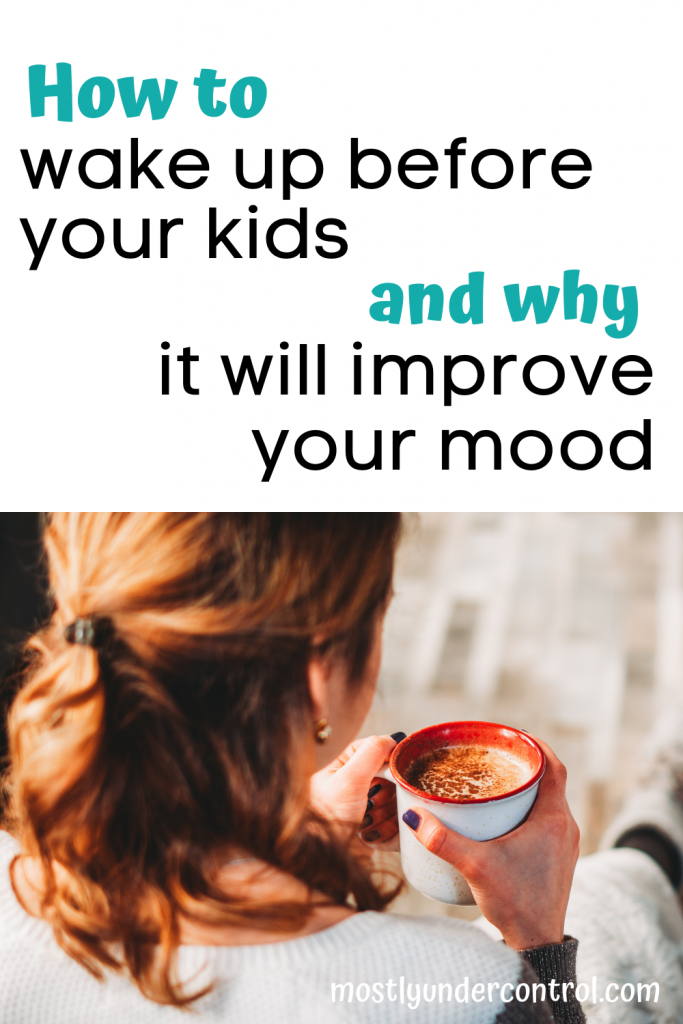 text: How to wake up before your kids and why it will improve your mood. Arial view of woman drinking coffee in a white mug with a red inside.