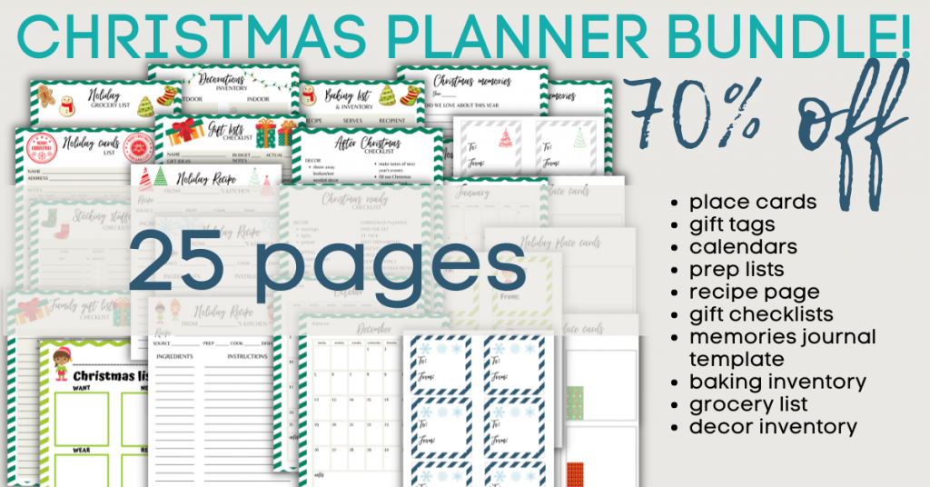 Christmas planner bundle - 70% off. 25 pages. Place cards, gift tags, calendars, prep lists, recipe page, gift checklists, memories journal template, baking inventory, grocery list, decor inventory